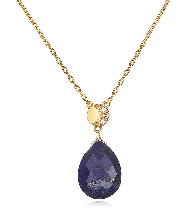 Lapis  White Topaz Gold Moon Drop Necklace 16-inch