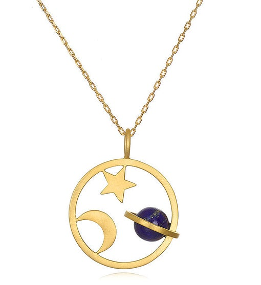 Lapis Gold Saturn, Moon & Star Pendant Necklace 30-inch