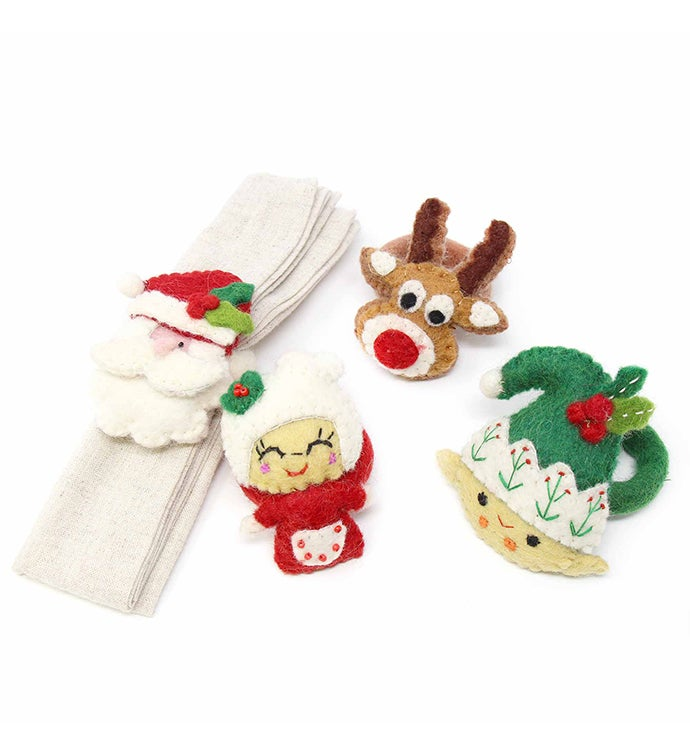 Handmade Felt Christmas Napkin Rings Set Of 4