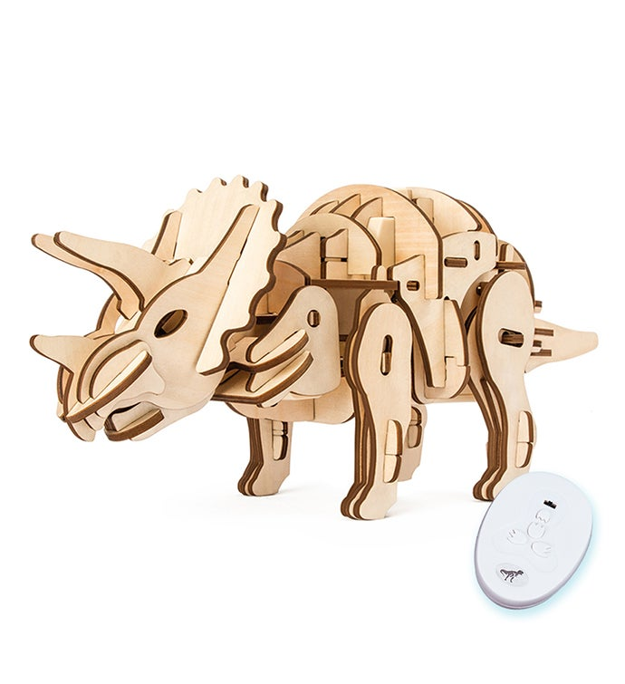 DIY 3D Wood Dinosaur Puzzle with Remote Control
