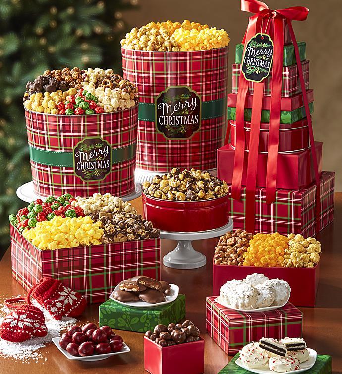merry christmas plaid 8 tier tower popcorn tins