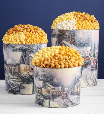Thomas Kinkade Holiday Village Popcorn Tins