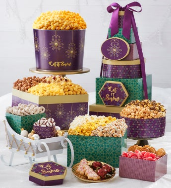 Let It Snow 8-Tier Gift Tower with 2-Gallon Popcorn Tin