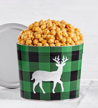 Very Merry Plaid 175 Gallon Reindeer Tin