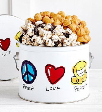 Peace Love  Popcorn 12 Gallon Pail